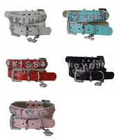 Wholesale Personalized PU Leather Slide Pet Dog collars leash DIY dog belt collar mixed size and color