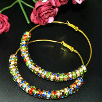 Wholesale New Bling Gold Hoops With MM Multicolor Rhinestone Crystal Spacers Basketball Wives Earrings Pair
