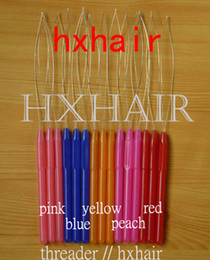 Wholesale 100pcs Plastic Handle Pulling Needle Threader Stainless Steel Wire Micro Rings Loop Hair Extension