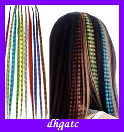 Wholesale hot sales feathers hair extension and piece color stripe hair Party brazilian virgin