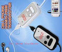 Wholesale Hands free Answer Refuse call in the Car FM Transmitter Charger Earphone for iphone blackberry EMS