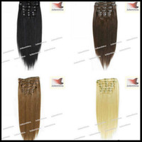 Wholesale 16 Brazilian Remy Human Hair Clip In Hair Extensions g set Straight