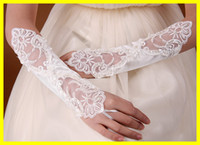 cotton gloves white - New Arrival In Stock quot White Ivory Wedding Party Fingerless Pearl Lace Satin Bridal Gloves