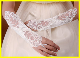 Wholesale New Arrival In Stock quot White Ivory Wedding Party Fingerless Pearl Lace Satin Bridal Gloves
