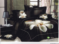Wholesale 2015 white flowers black pattern queen bedding comforter quilt duvet covers sets pc