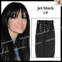 Wholesale Brazilian Human Hair Extension Clip In Extension Straight inch Jet Black Remy Hair Cheap Good bargain