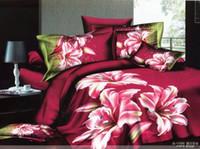 achat en gros de reine couette rose ensemble-EEP rose motif de fleur de lys literie queen couette couette / housse de couette fixe 4pc
