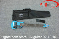 Solid Body blue guitar - Travel guitar Bright blue Hofner Travel Electric Guitar With Big Bag