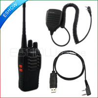 Wholesale Walkie Talkie UHF W CH Portable Two Way Radio H777 Speacker Mic Programming cable A0695Z