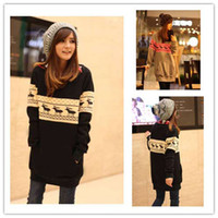 Wholesale New KOREA Fashion Womens Autum Grid Knitting Top Long hoodie Two colors