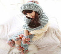 Wholesale Manual knitting wool scarf woolly scarf scarf with ball hat gloves three piece magic big doll copy