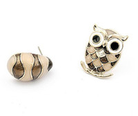 Wholesale Fashion Jewelry Retro Earrings Lovely Owl Earring Pink Crystal