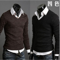 Wholesale New Men Rabbit Plush v neck Knitting Sweater Pullover Sweater Primer