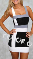 Sexy Mini Dresses S0900137 Collision Color Stripe Vest Tight...