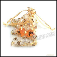 Wholesale 7x9cm Yellow Moon amp Star Wedding Favor Organza Bags Jewelry Party Gift Pouch Bag
