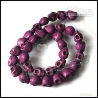 Wholesale 12mm Purple Skull Turquoise Loose Gemstones Beads Fit Beading Bracelet strings