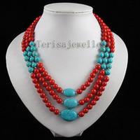 Wholesale 3Rows Red coral amp blue turquoise mixes necklace fashion jewelry woman s jewelry A2491