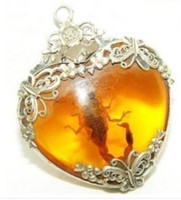 amber scorpion necklace - Tibet silver amber scorpion necklace pendant