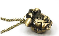 Wholesale 5pcs Cute Minnie Mouse Cartoon Pocket Watch Charm Pendant Necklace j11