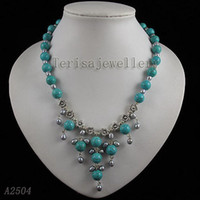 Wholesale blue turquoise amp gray freshwater pearl multicolor fashion pendant necklace A2504