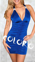 Sexy Mini Dresses S0900031 Halter Cross Wrap Hip Tight Mini ...
