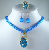 Wholesale New blue opal necklace crystal pendant earring ring set