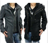Wholesale hao_bag Hot Mens Trench Coat fashion Men wool coat winter outerwear warm trench coat outdoor black and gray