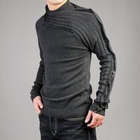 Wholesale Men s Sweater men s personality asymmetric sleeve fashion sweater sweatshirt Knitwear Men s Clothing Sweaters black gray
