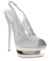 Wholesale 2012 Brand new Diamond Platform high heels shoes Sandal shoes real leather gold and silver