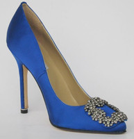 Wholesale 2014 New Fashion women lady blue satin Sharp mouth High Heels diamonds shoes