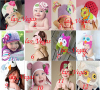 Wholesale babys Caps crochet hat with flower baby crochet hats infant beanie Kid knitted Cap