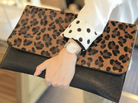 Wholesale 2p Fashion Sexy Leopard Women s Bags Handbag Lady Clutch Purse Shoulder Tote Envelope Bag Briefcase