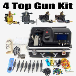 Wholesale Tattoo Kit Top Machine Gun LCD Dual Power Supply Needle Grip Tip Case TK408