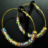 Wholesale Bling Gold Hoops MM Multicolor Rhinestone Crystal Spacers Basketball Wives Earrings pairs
