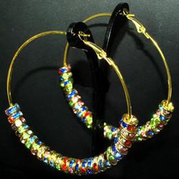 Wholesale Bling Gold Hoops MM Multicolor Rhinestone Crystal Spacers Basketball Wives Earrings pairs