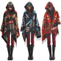 Wholesale Women Hooded cape women s Shawls scarves Hooded Scarf Bohemian shawls scarves geometry