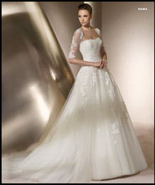 Wholesale 2012 Classic Elbow Bolero Jacket Ball Gown Strapless Tulle Applique Wedding Dress Wedding Dresses