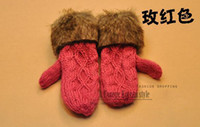 Wholesale hot red gloves Cute HANDMADE WOVEN gifts twist thick warm fur coat Halter women gloves