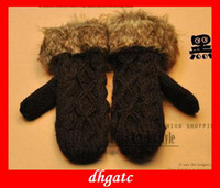 Wholesale hot red black gloves Cute HANDMADE WOVEN twist thick warm fur coat Halter women gloves