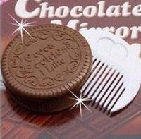 Wholesale 10 Pieces Creative Chocolate sandwiched Biscuit make up Mirror portable pocket cosmetic mirror comb