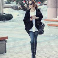 Wholesale Lady s Women s Batwing Cape Poncho Knit Top Cardigan Sweater Black