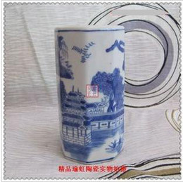 Wholesale China landscape garden six party pen container archaize blue and white porcelain is foreign trade po