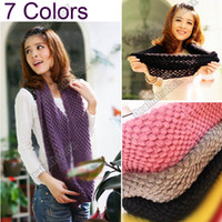 Wholesale 2013 Fashion Lovely Girls Women s Knit Neck Cowl Wrap Scarf Corn Shawl Knitting Wool Warmers Circle
