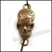 Wholesale Antique Brass Metal Solid Skull Head Charms Necklace Pendants Jewelry Findings mm