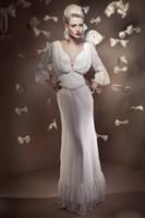 Chiffon wedding dresses 2011 - 2011 Vintage inspired style with sleeves Sheath Chiffon Wedding Dresses es05