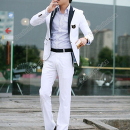 Wholesale Men s Casual Slim fit One Button Suit Pop Blazer Coat Jacket White