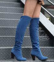 Wholesale high qulity fashion tick with nubuck leather high heeled boots Jackboots heels SZ colors