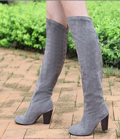 Wholesale hot sale fashion tick with nubuck leather high heeled boots Jackboots heels in gray SZ