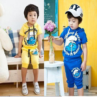 Wholesale B2w2 Baby Boy suits pc set kids Children Smurfs hooded boys tracksuit Triazolam cartoon B zgf