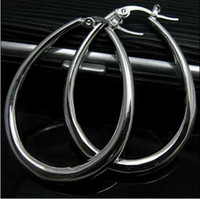 Wholesale Best selling silver U shaped hoop earrings cm long pair